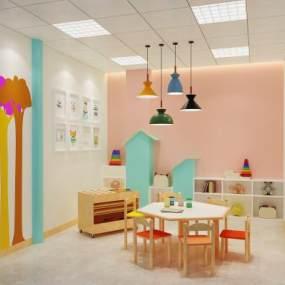 现代幼儿园教室活动室3D模型【ID:936259648】