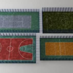 现代篮球场3D模型【ID:333752878】