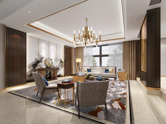 新中式会客厅3D模型【ID:146398745】