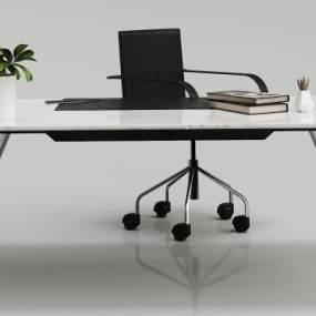现代大理石金属办公桌3D模型【ID:933849105】