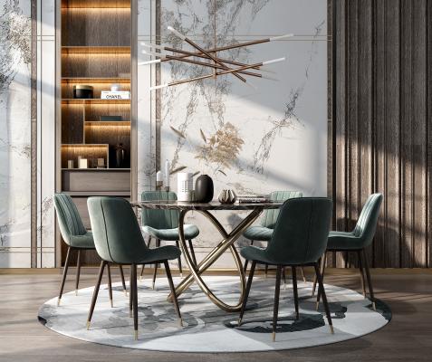 現代餐桌椅組合3D模型【ID:846686879】