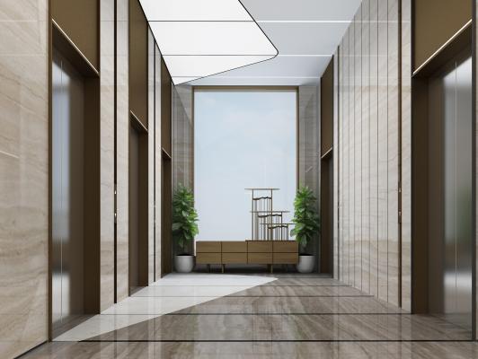 現代電梯廳3D模型【ID:944743555】