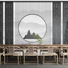新中式屏风隔断泡茶桌组合 3D模型【ID:641967148】