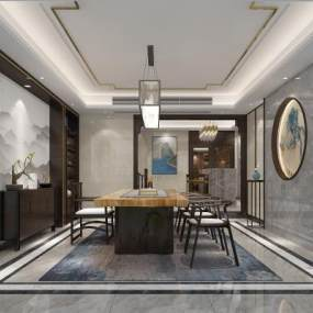 新中式茶室3D模型【ID:631603142】