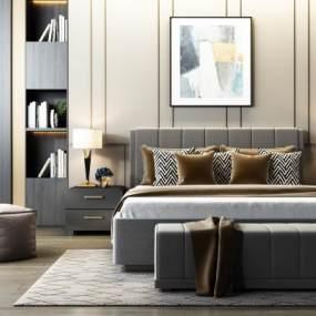 现代双人床床头柜组合3D模型【ID:844059708】