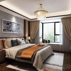 新中式卧室3D模型【ID:630433166】