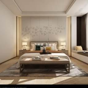 新中式主卧室老人房3D模型【ID:531621285】