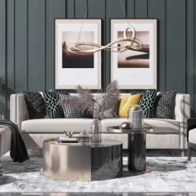 现代轻奢沙发茶几组合3D模型【ID:648963775】