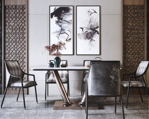 新中式奢華餐桌椅組合3D模型【ID:852341854】