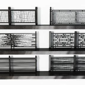现代铁艺栏杆铁艺围栏3D模型【ID:343358355】