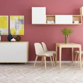 现代餐桌椅3D模型【ID:851042857】