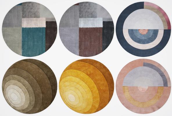 北欧圆形地毯组合3D模型【ID:344641288】