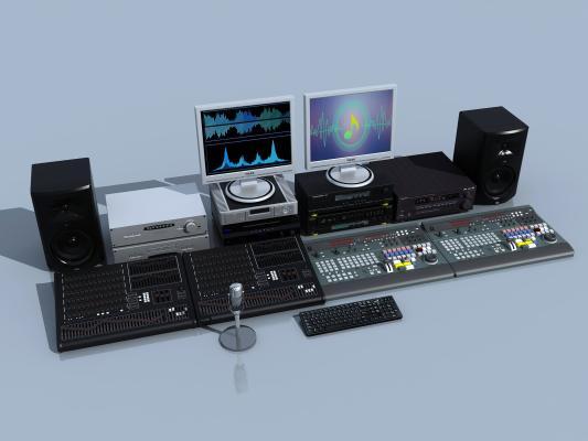 現代錄音數碼音響設備3D模型【ID:235617775】