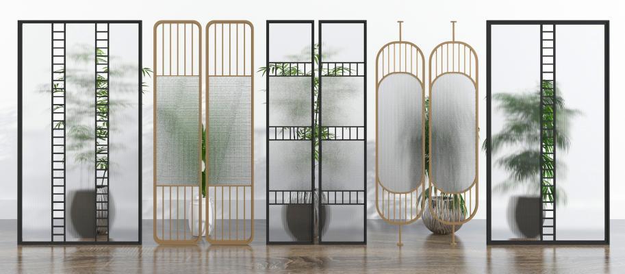 现代工艺玻璃 金属屏风 隔断