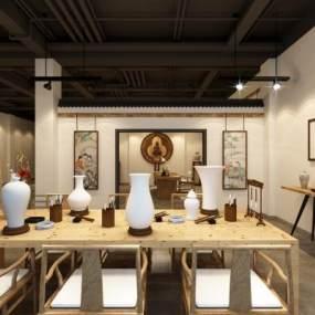 新中式陶瓷展厅3D模型【ID:934479751】