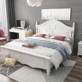 美式床臥室3D模型【ID:848316780】
