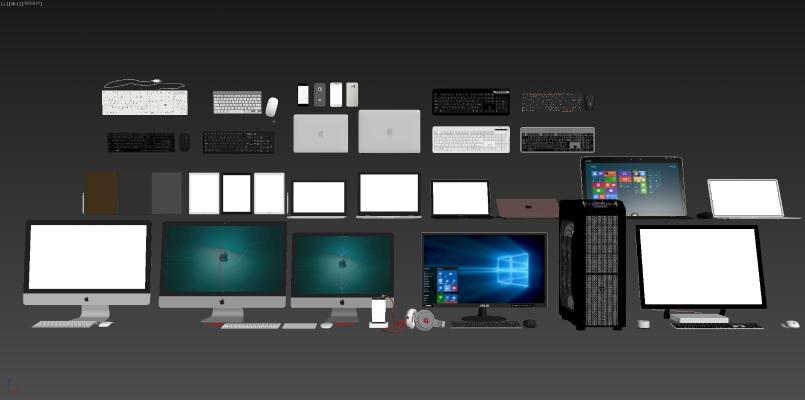 現代臺式電腦筆記本鍵盤鼠標手機組合3D模型【ID:242072740】