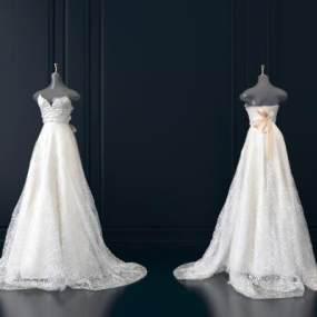现代婚纱服装模特3D模型【ID:931768984】