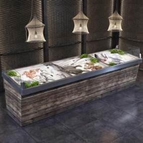 现代海鲜冷藏展示柜3D模型【ID:132559149】