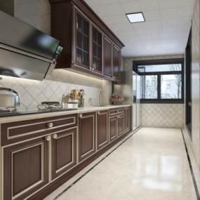 美式廚房3D模型【ID:550891300】