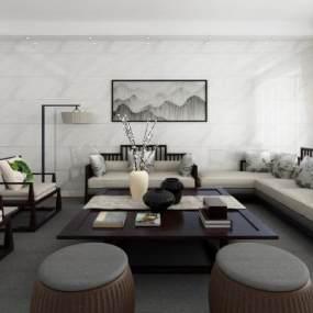 新中式沙发组合3D模型【ID:635848787】