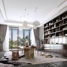 新中式茶室書房吊燈地毯綠植3D模型【ID:643744155】
