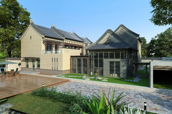 新中式别墅3D模型【ID:148767354】