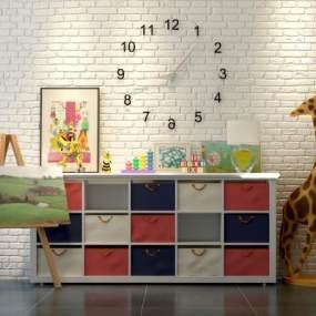 现代儿童储物柜装饰柜画架玩具组合3D模型【ID:130543139】