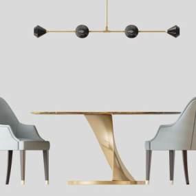 北欧现代圆形餐桌椅吊灯 3D模型【ID:840935871】