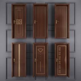 新中式门房门卧室门实木门3D模型【ID:330571141】