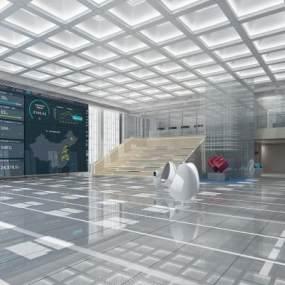 現代展廳大堂3D模型【ID:951061760】