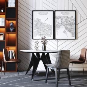 现代轻奢圆形餐桌椅3D模型【ID:845190883】