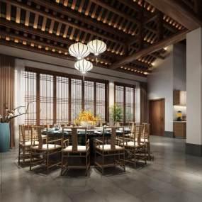 新中式餐厅3D模型【ID:645297690】