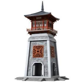 中式古建塔樓鐘樓3D模型【ID:152066480】