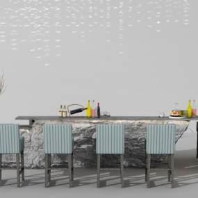 现代吧台吧台椅吊灯组合3D模型【ID:130424858】