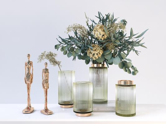 北歐輕奢玻璃花瓶飾品擺件3D模型【ID:249035562】