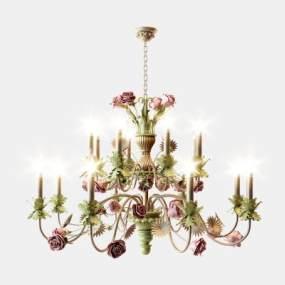 簡歐美式高檔蠟燭吊燈3D模型【ID:743875830】