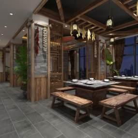 中式火鍋店3D模型【ID:643640536】