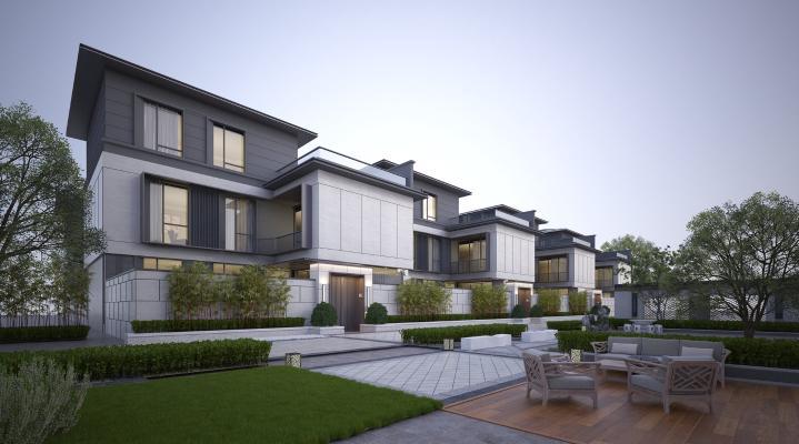 新中式联排别墅3D模型【ID:148146353】
