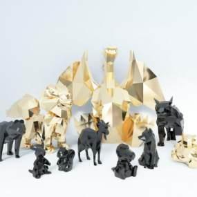 现代金属几何动物雕塑3D模型【ID:348197189】