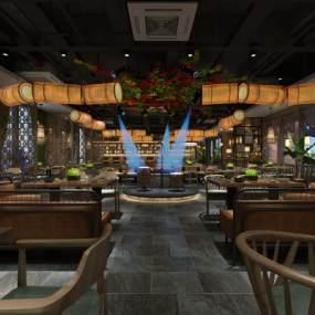 工装新中式餐厅3D模型【ID:637125250】