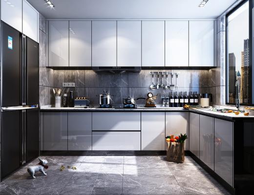 現代廚房3D模型【ID:146922065】