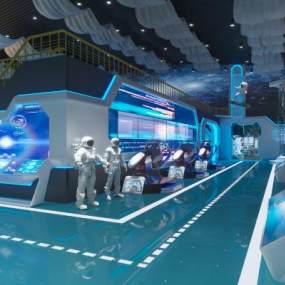 現代科技航空展廳展館3D模型【ID:953556769】