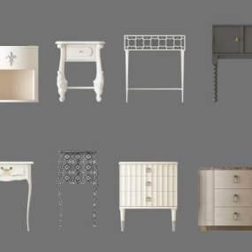 现代床头柜边几组合3D模型【ID:835427961】