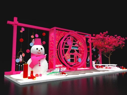 现代新年雪人商场美陈3D模型【ID:844066760】