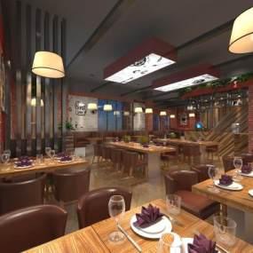 現代工業風西餐廳3D模型【ID:648654263】