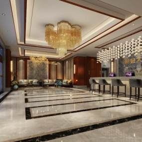 新中式酒店大堂大厅3D模型【ID:733715039】