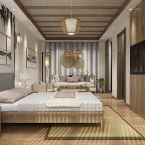 新中式民宿客房3D模型【ID:737141335】