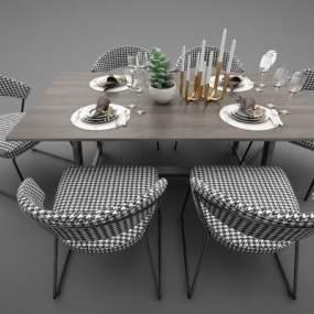 現代風格餐桌3D模型【ID:852623825】