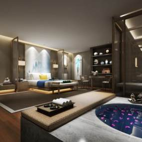 新中式酒店客房3D模型【ID:732159313】